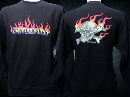 Troublemaker - Flammen Sweat TROUBLEMAKER Skull